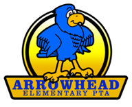 PTA Arrowhead logo.  Blue Hawk  with yellow PTA banner