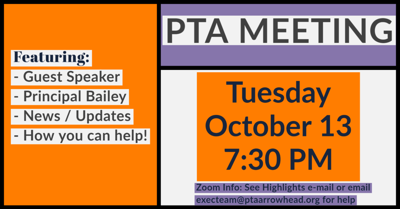 PTA General Membership Meeting – October 13, 2020